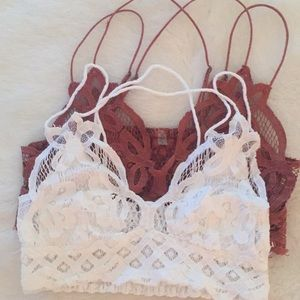 Two Bralettes. White is Xs and rust is S.